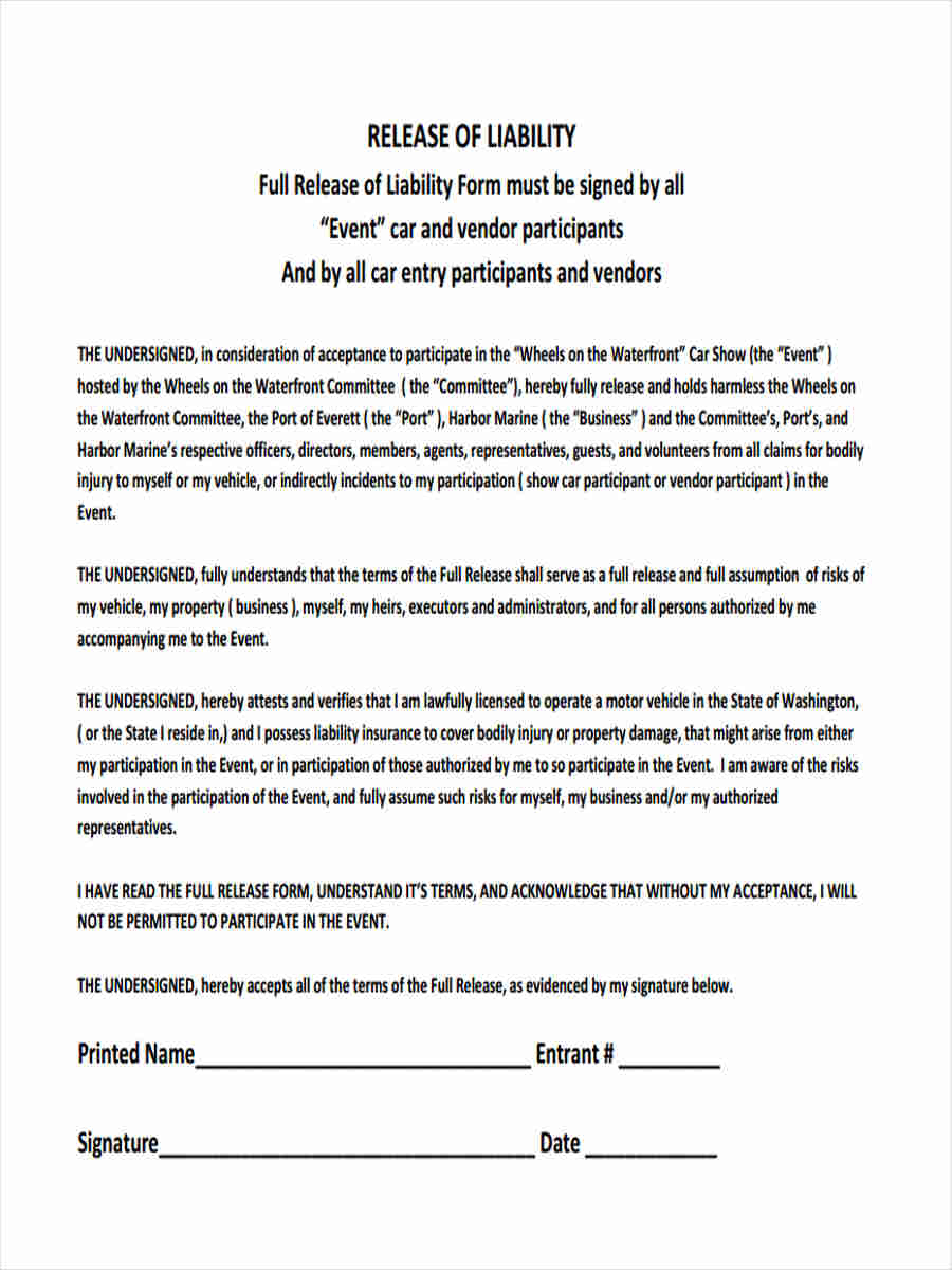 Release From Liability Form For Repair