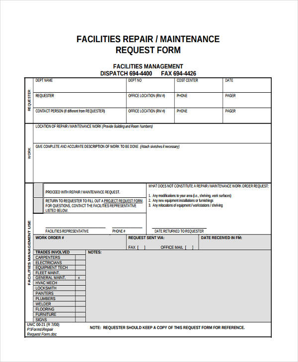 Thus, we suggest you use our professional log templates to create such important documents to ensure the safety of your workers, and to maintain the health of your important equipment as well. Free 10 Maintenance Request Forms In Pdf Ms Word