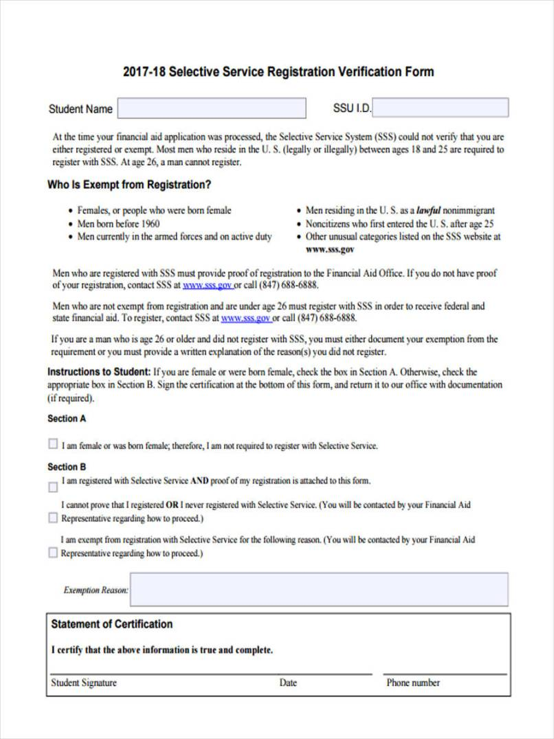 8 selective service form sample free example format