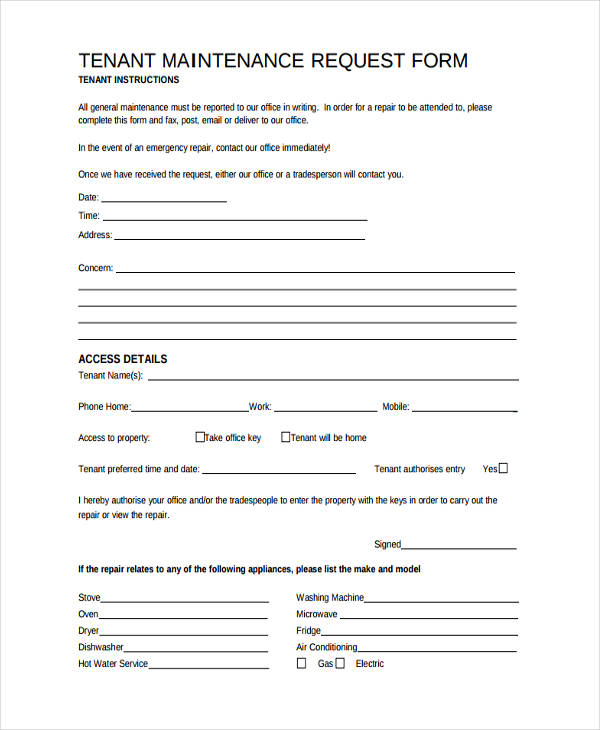 Apartment Maintenance Request Form Template  Nice Apartement