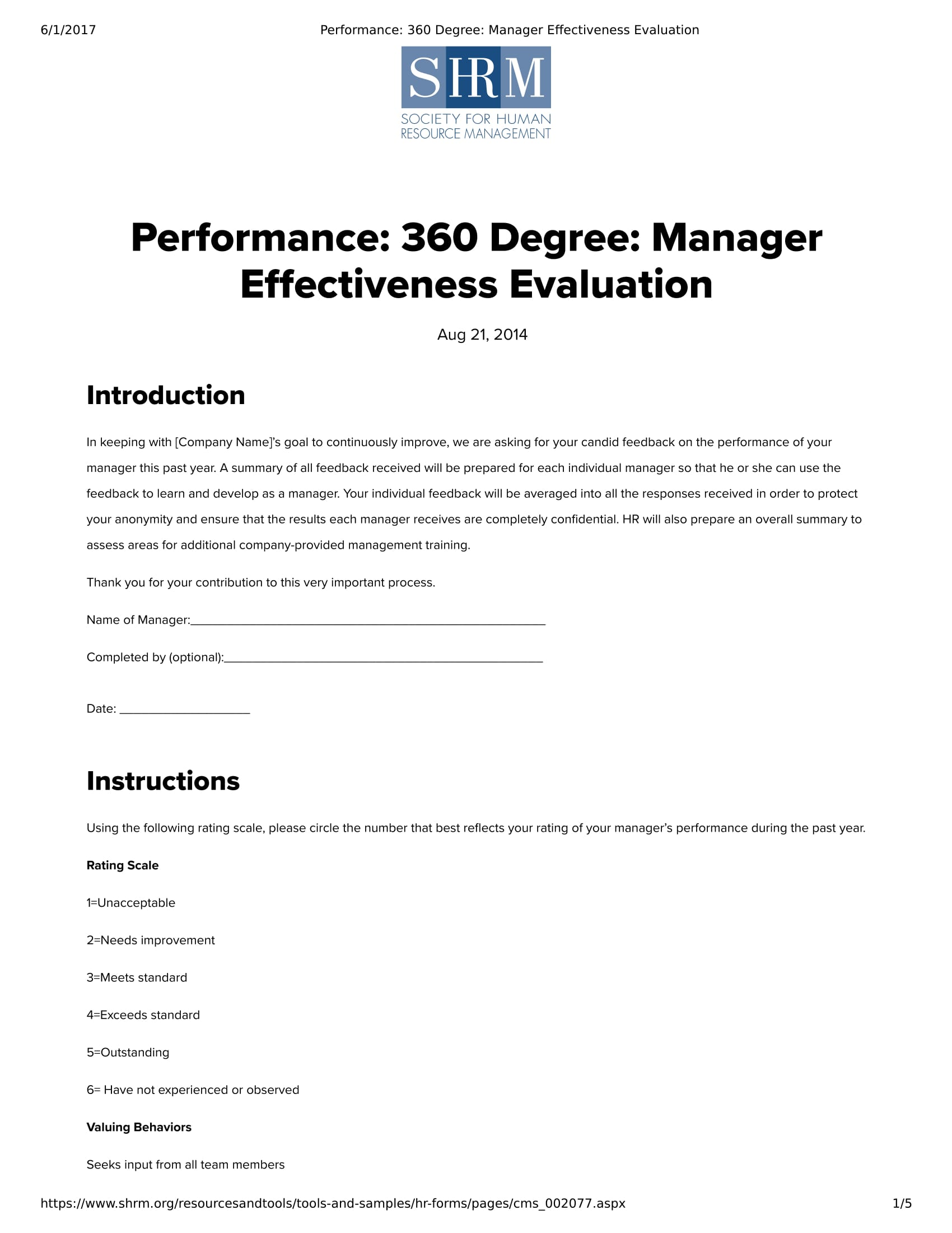 Free 5 360 Degree Feedback Forms In