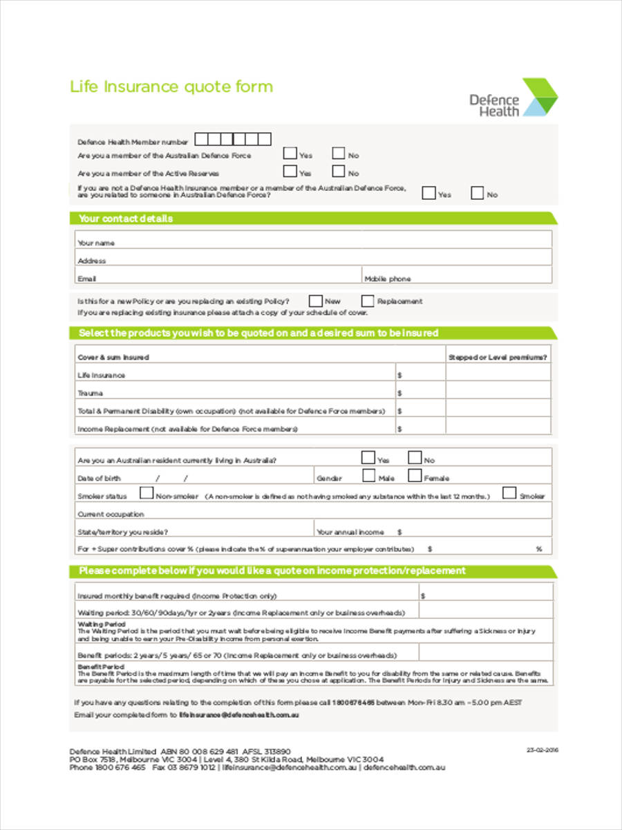 22/10/2018· insurance quote template is a finest tool that can be used to prepare insurance quote. Free 9 Insurance Quote Forms In Pdf