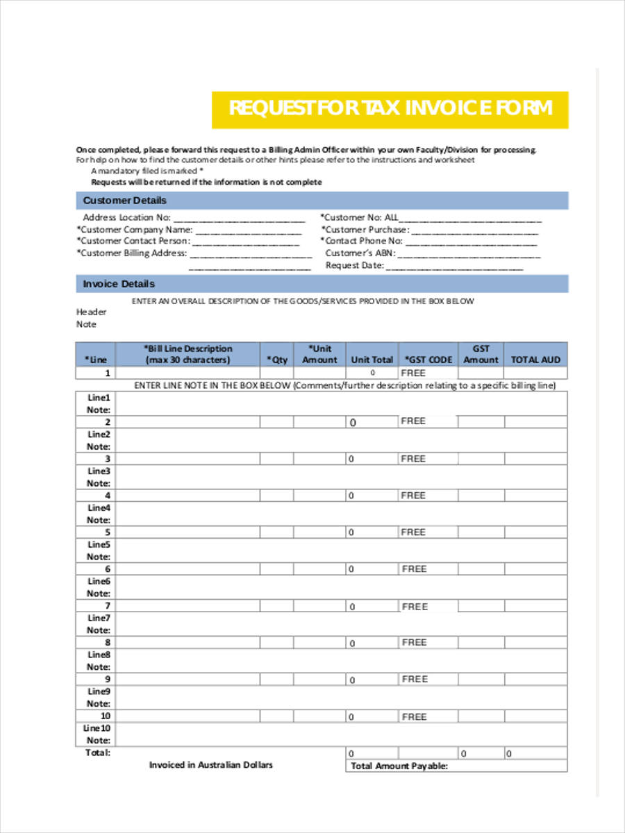 Tax Invoice Form 7 Free Documents In Word PDF