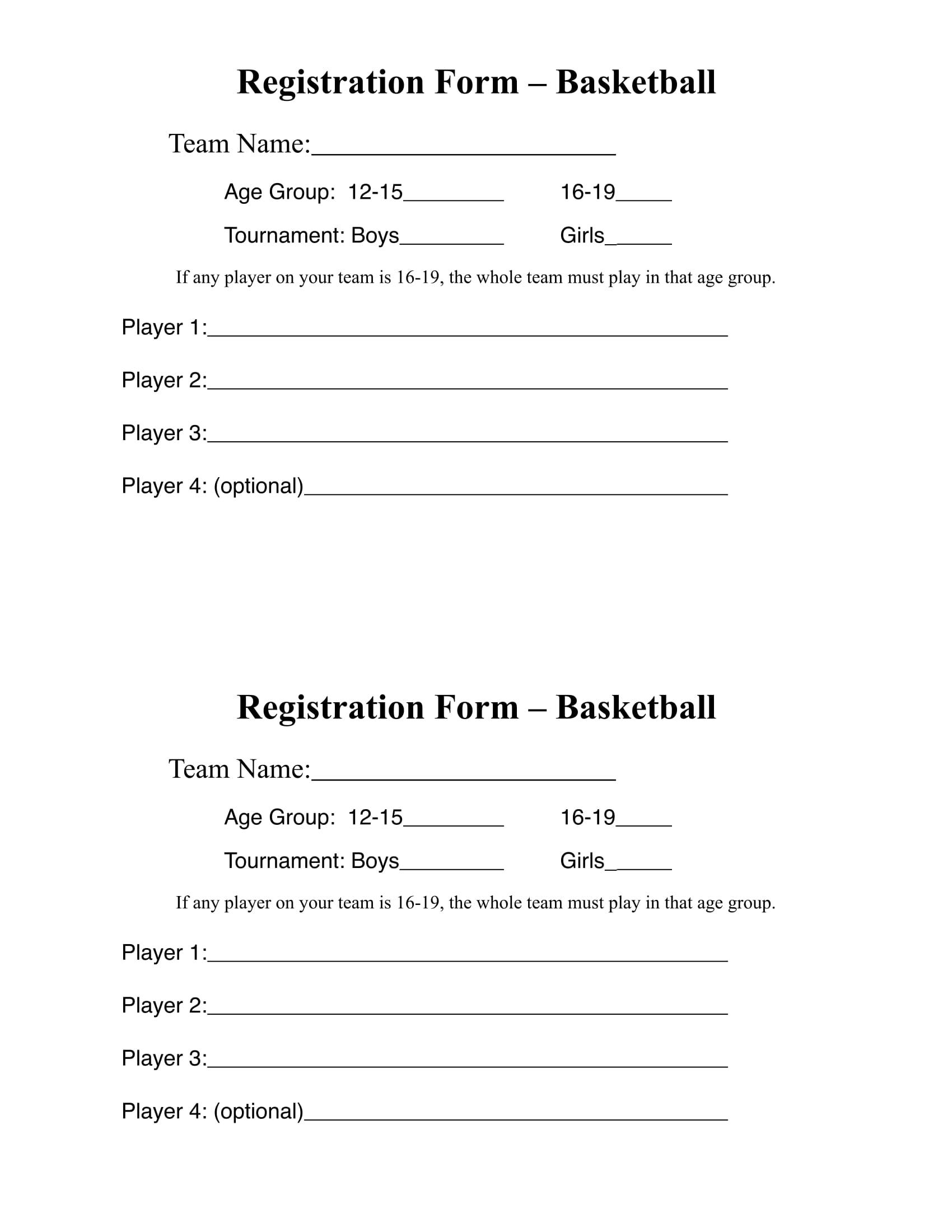 10 Basketball Registration Form Samples