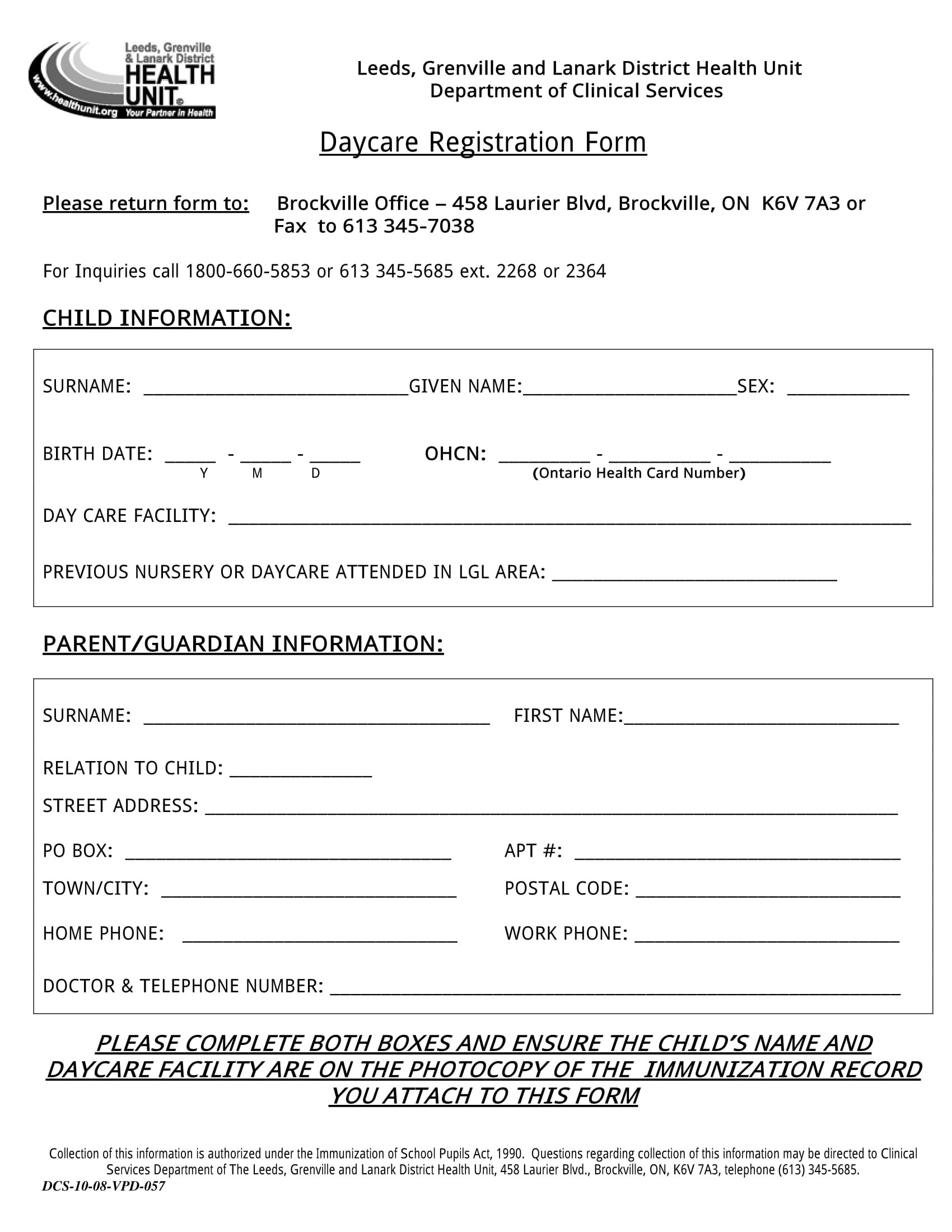 Free 11 Daycare Registration Forms In