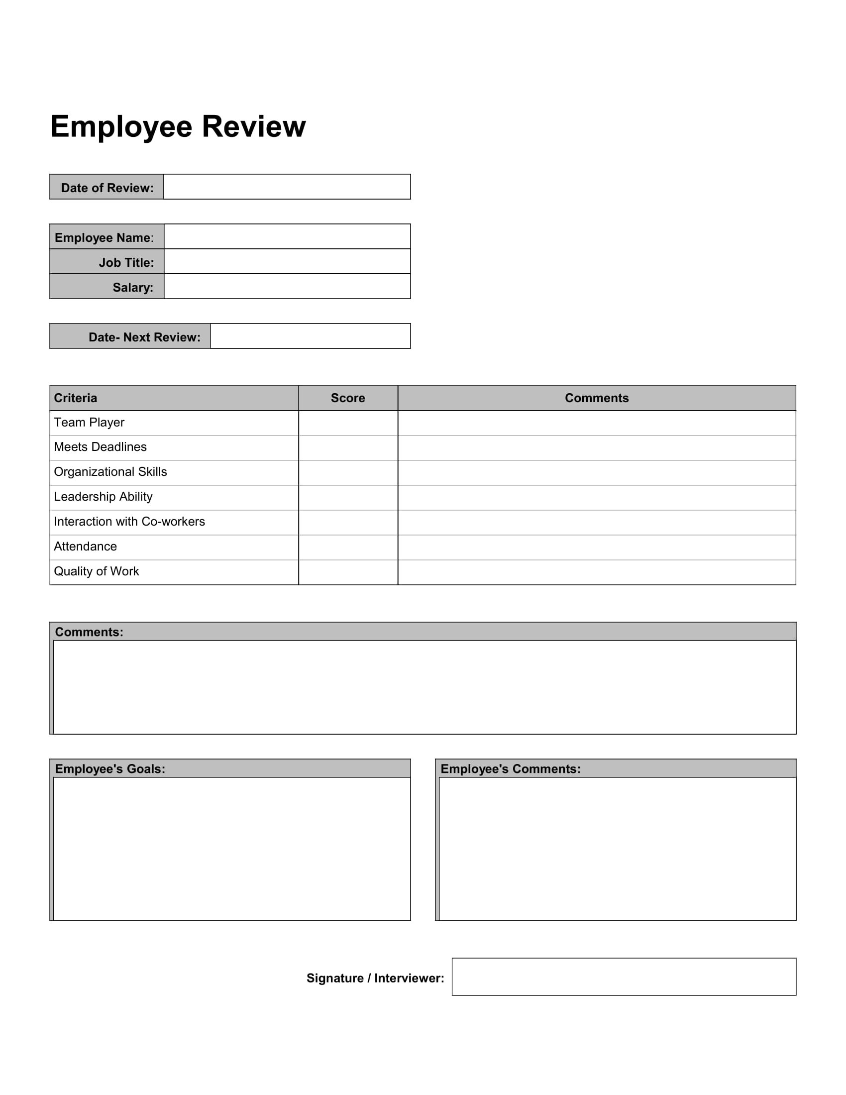 Free 10 Employee Self Reviews Forms In