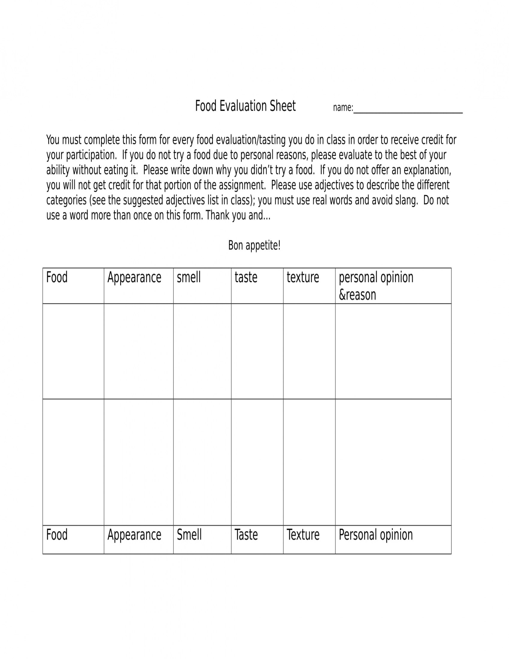 13 Food Evaluation Forms
