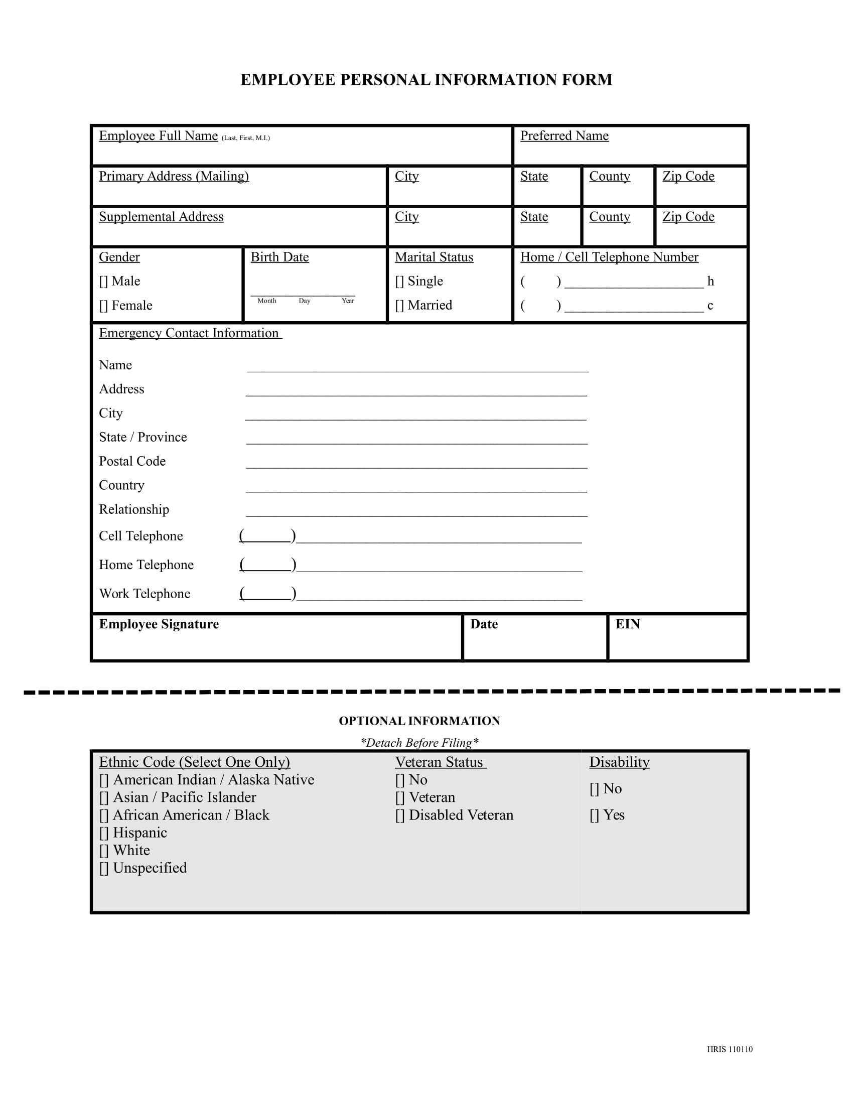 13 Employee Information Forms