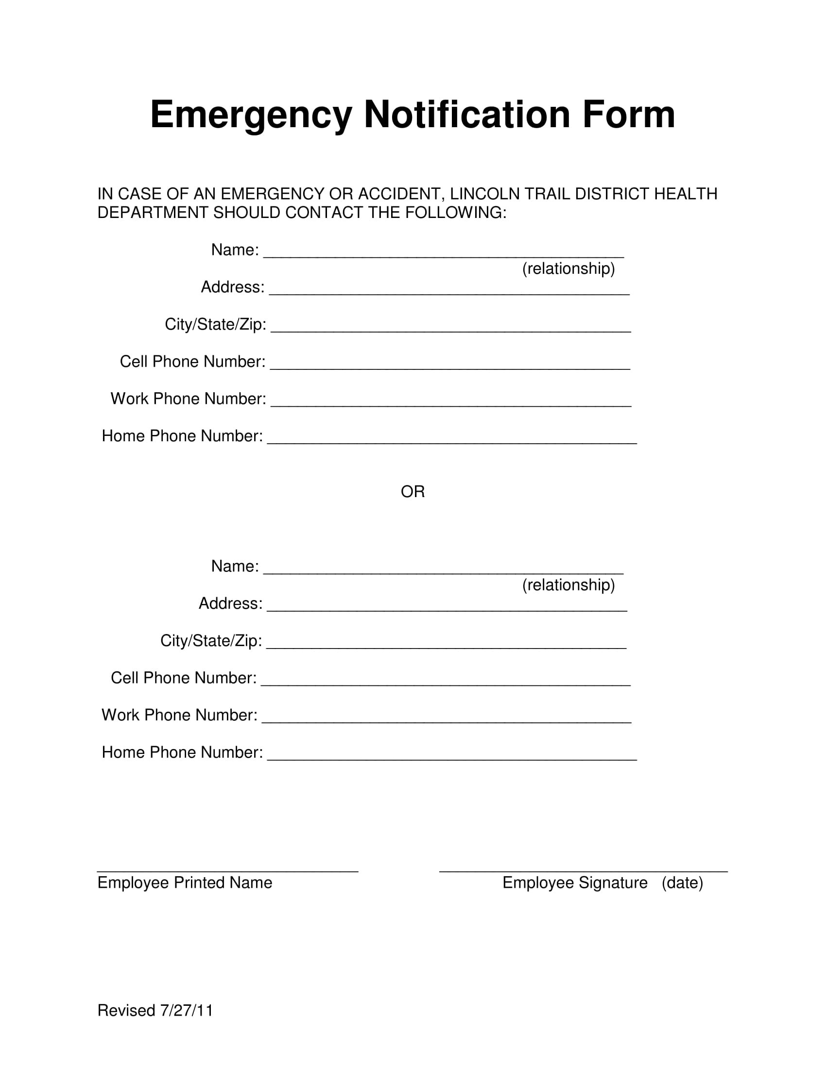 9 Employee Emergency Notification Forms Amp Templates