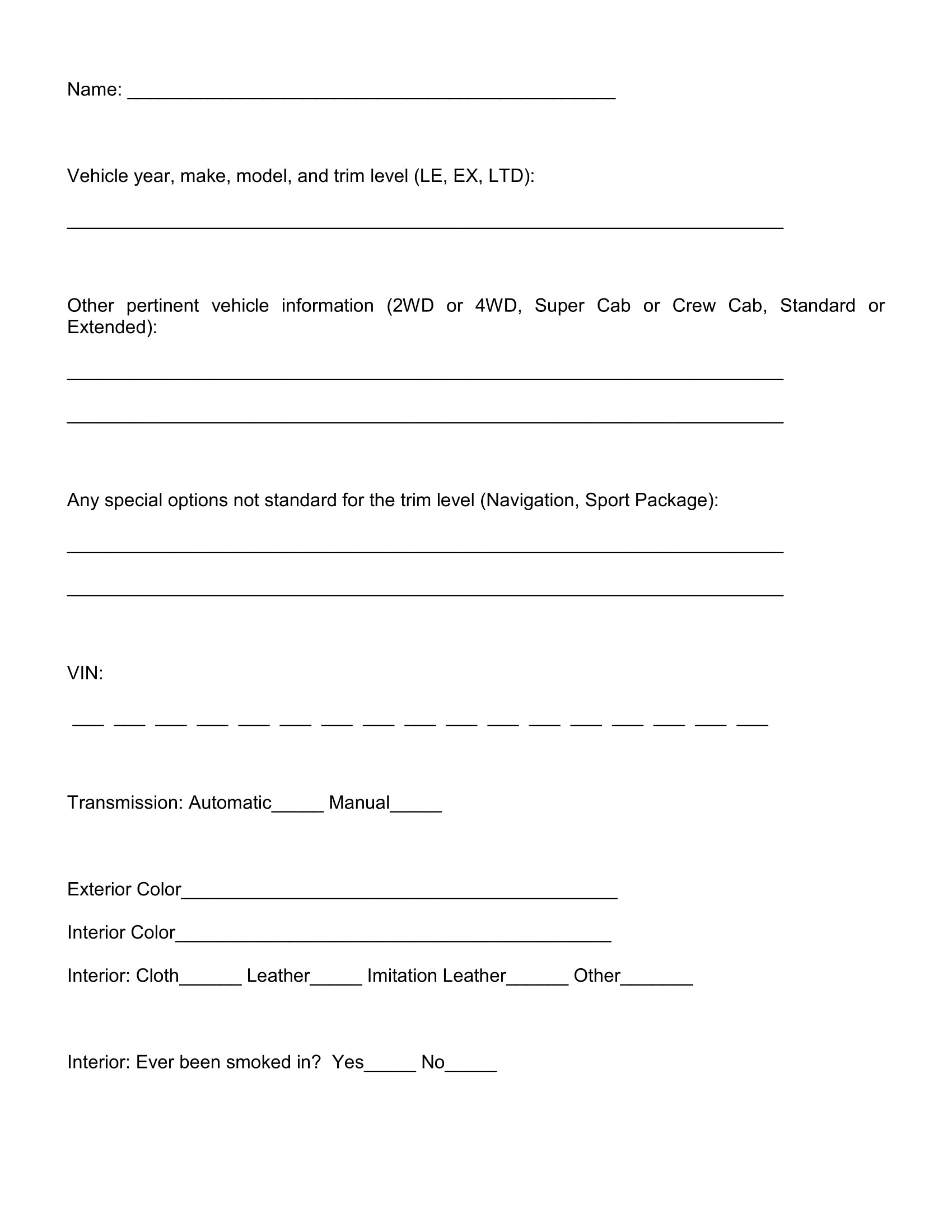 Free 14 Vehicle Evaluation Forms In