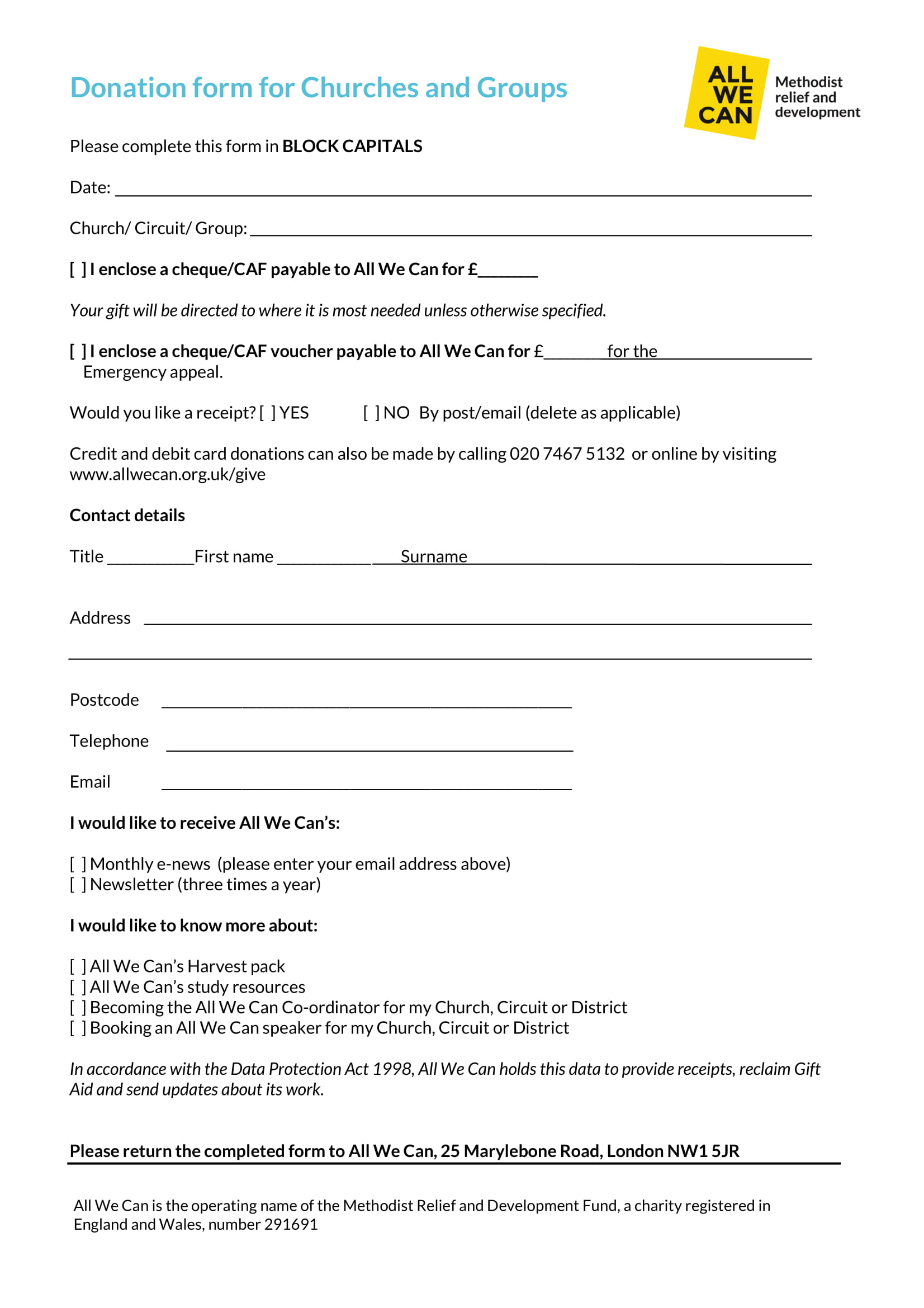 Refer to sample image of check below to identify your bank account number. Free 5 Church Donation Forms In Pdf Excel