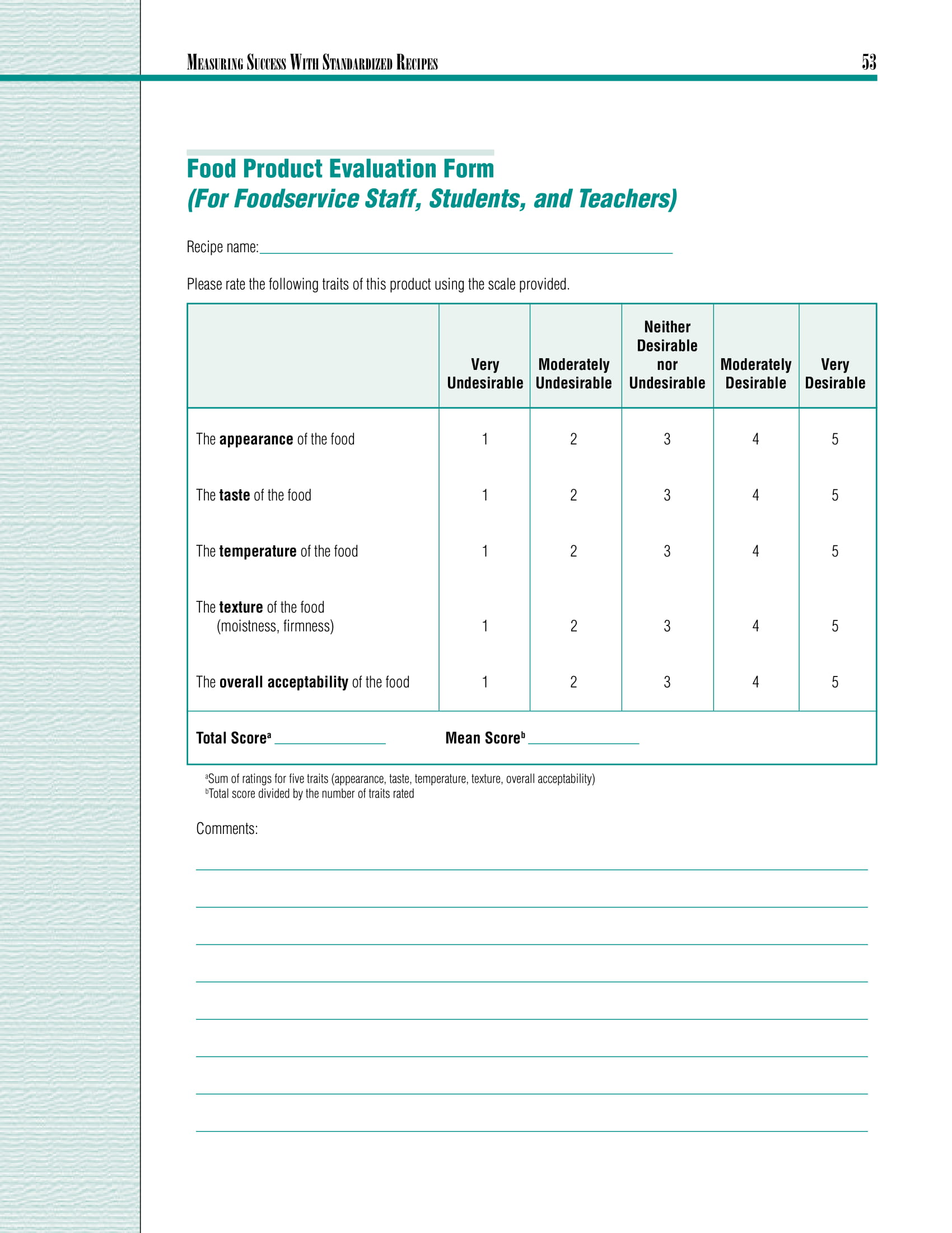 Free 8 Restaurant Evaluation Forms In Ms Word