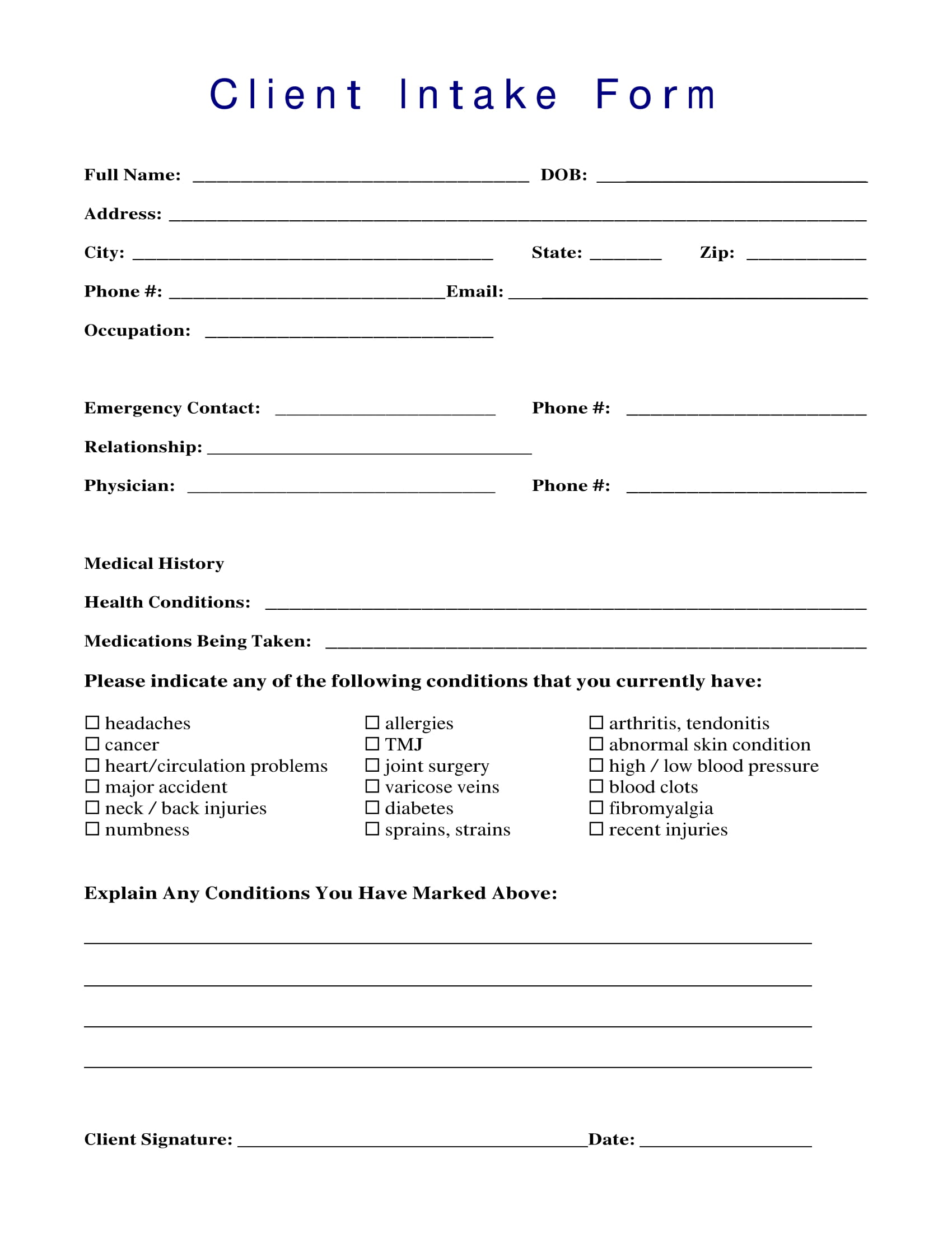 Free 14 Client Intake Forms In
