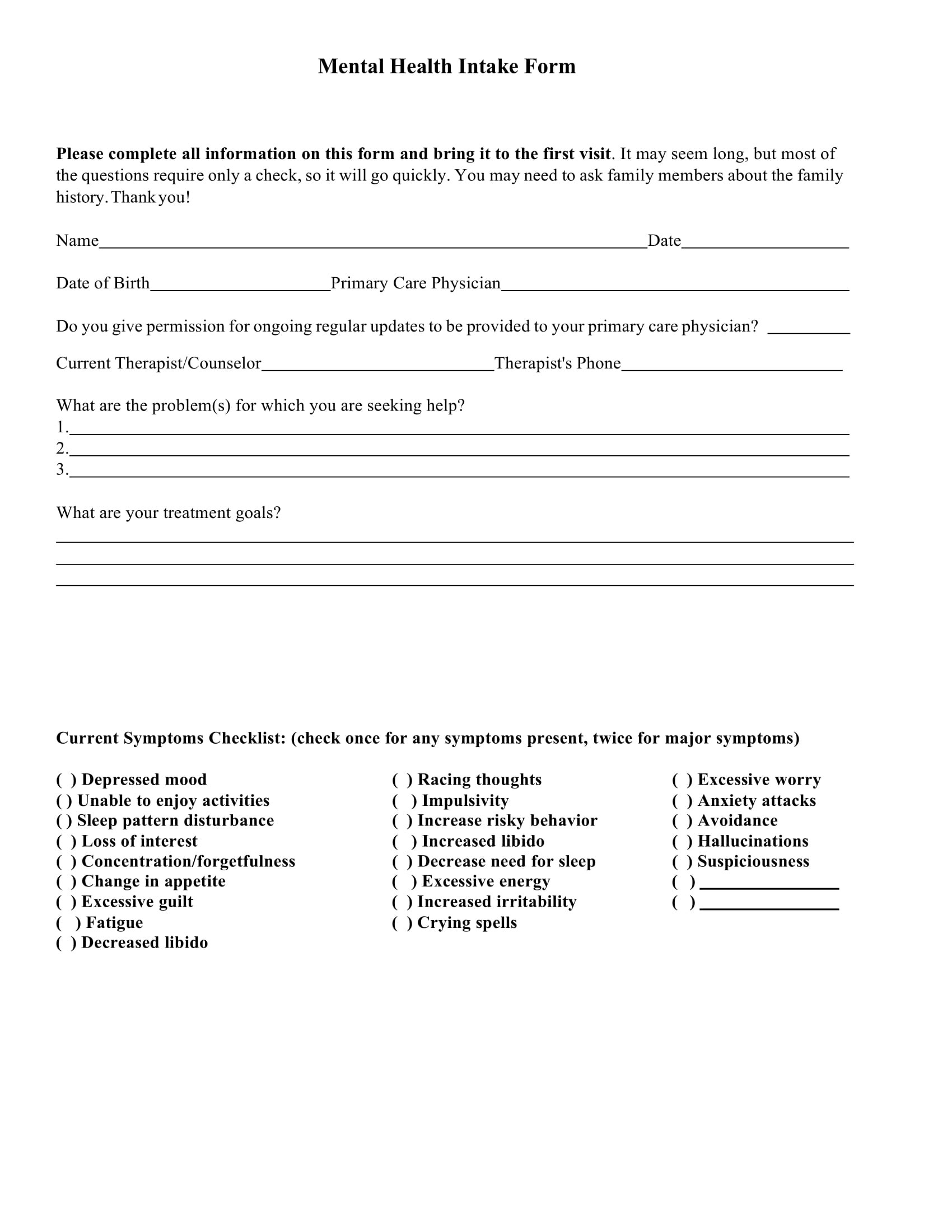 Free 9 Mental Health Providers Intake Forms In Doc