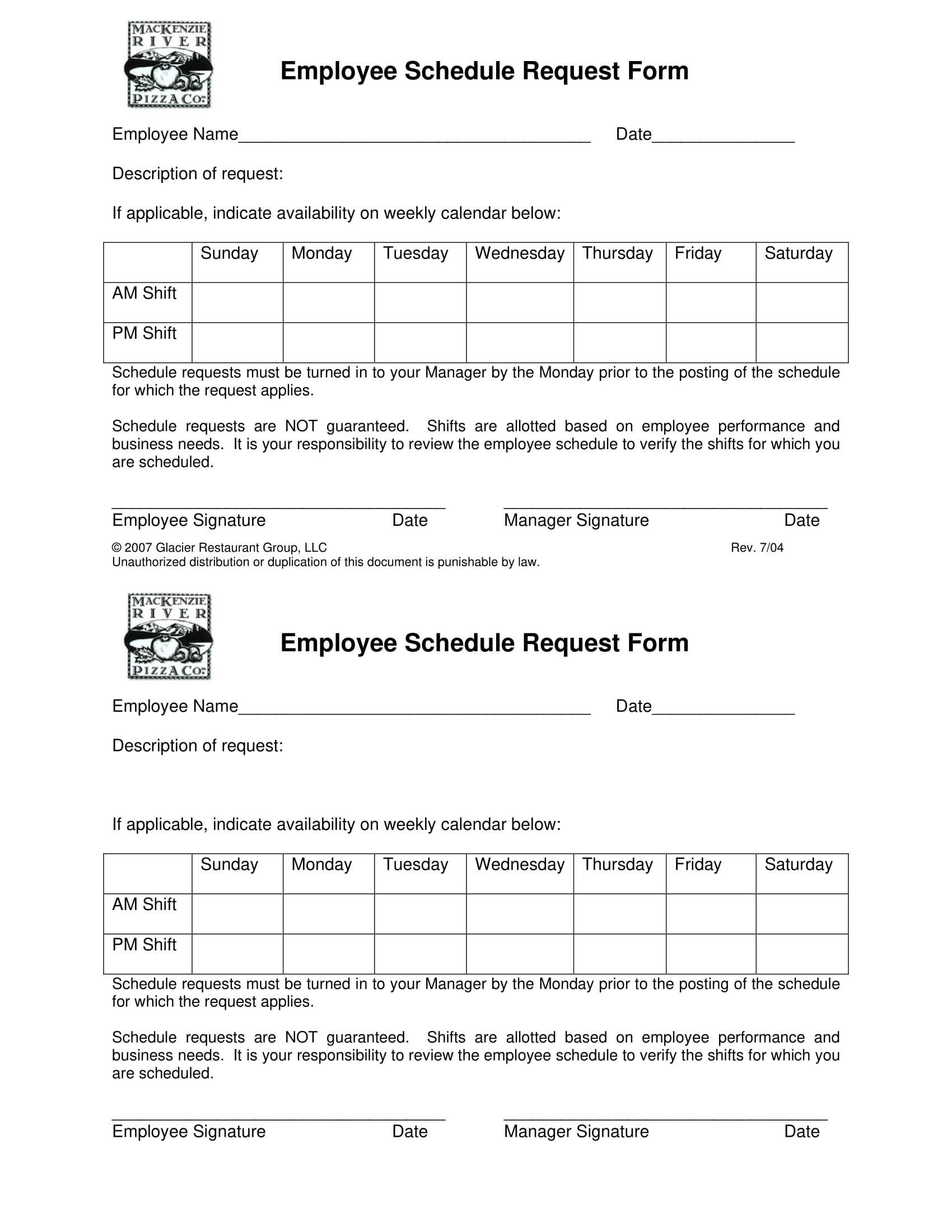 Free 5 Restaurant Schedule Forms In