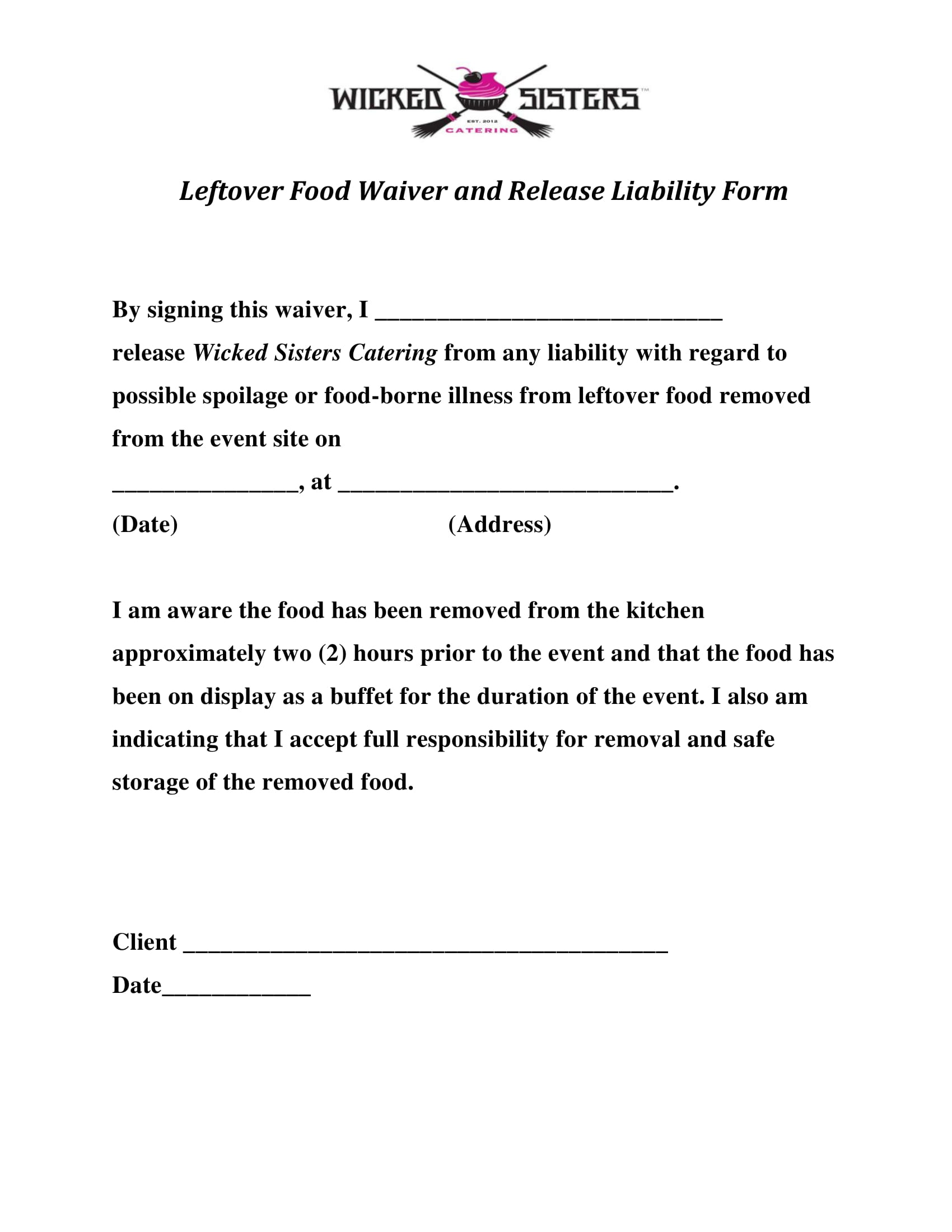 Free 7 Restaurant Waiver Forms In