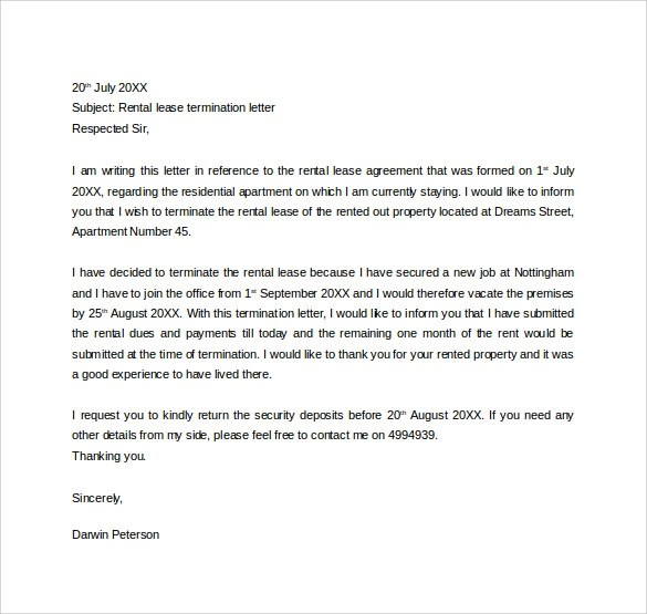 Early Lease Termination Letter Sample  Docoments Ojazlink