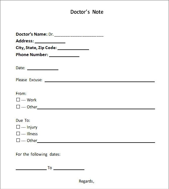 Doctors Note Template| Free Doctors Note For Work | All Form Templates