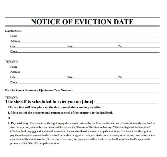 Eviction Form Eviction Notice Letter Printable Sample Eviction – Copy of an Eviction Notice