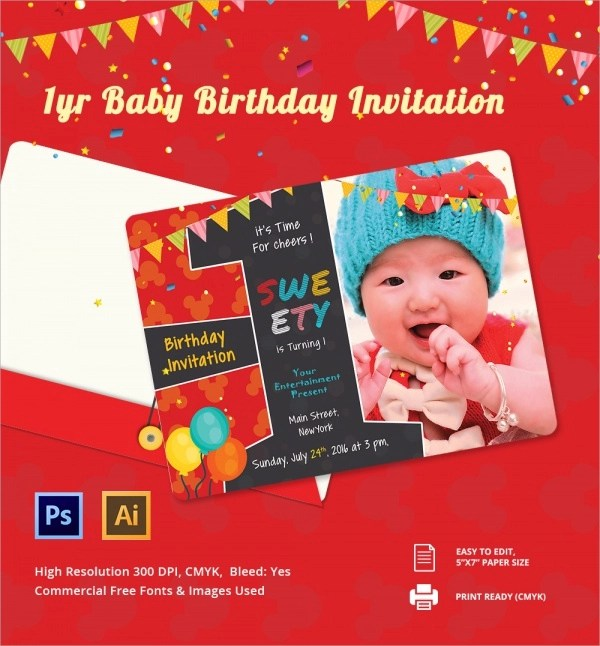 First Birthday Invitation Card Template Free – Sample of Birthday Invitation