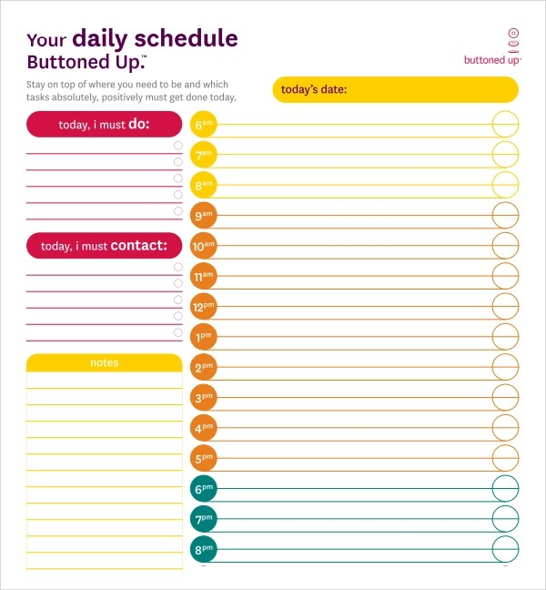 Daily Planner Template  Daily Calendar Template  All Form Templates
