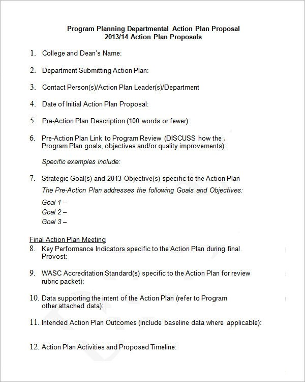 Sample Action Plan Template 9 Free Documents In PDF Word Excel
