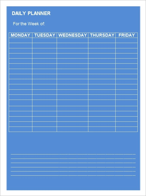 Daily Planner Template 9 Download Documents In PDF Word