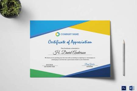 27  Best Printable Certificate of Appreciation Templates   Sample     Company Appreciation Certificate Template