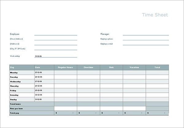 Time Card Calculator Excel Template | Infocard.Co
