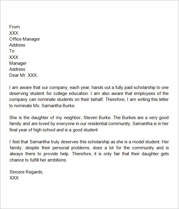 Recommendation Letters For Scholarship Sample Letter Of