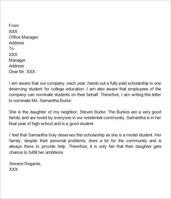 Re mendation Letters For Scholarship 9 Letter