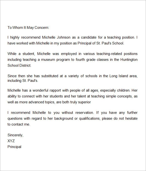 Reference Letter For A Student Teacher | Docoments Ojazlink