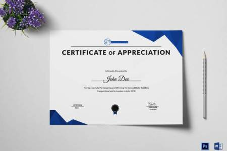 27  Best Printable Certificate of Appreciation Templates   Sample     Physical Fitness Appreciation Certificate Template