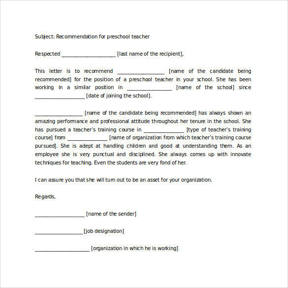 recommendation letter for preschool teacher | Docoments Ojazlink