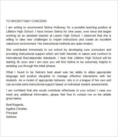 Sample Reference Letter For Physical Education Teacher