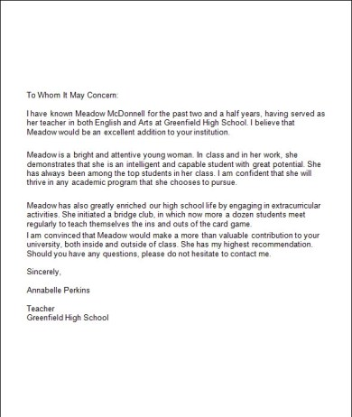 Free High School Student Cover Letter