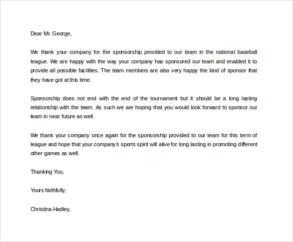Select Baseball Sponsorship Letter – Sponsorship Thank You Letter