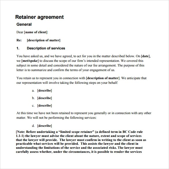 New Retainer Agreement Letter Sample Pics  Complete Letter Template