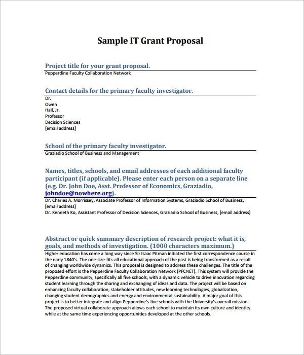 Grant Proposal Template 9 Download Free Documents In PDF Word RTF