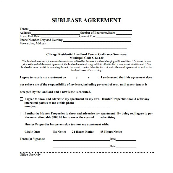 Sublease Agreement Template Pdf
