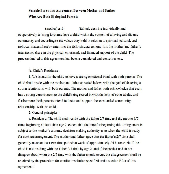 Sample Letter Of Agreement For Child Support | Docoments Ojazlink
