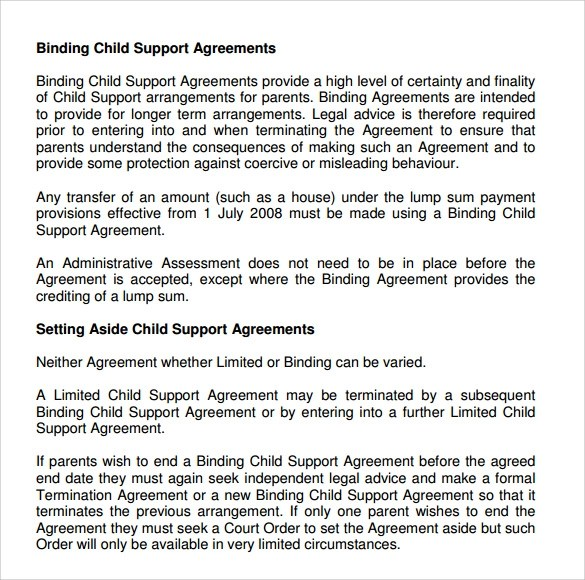 sample child support agreement previousnext child support