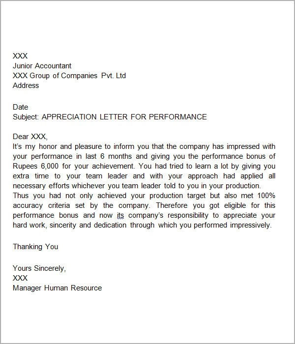 Sample Employee Recognition Letter  Docoments Ojazlink