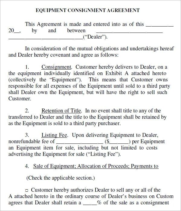 Consignment Stock Agreement Letter Poemdocor
