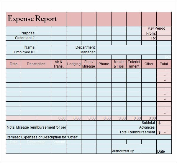 fuel expense report template