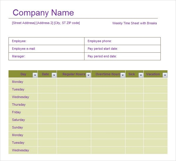 For those of you who want to get the weekly employee timesheet template for your business, you should know how to use this timesheet. Free 6 Sample Time Sheet Templates In Pdf Ms Word Excel