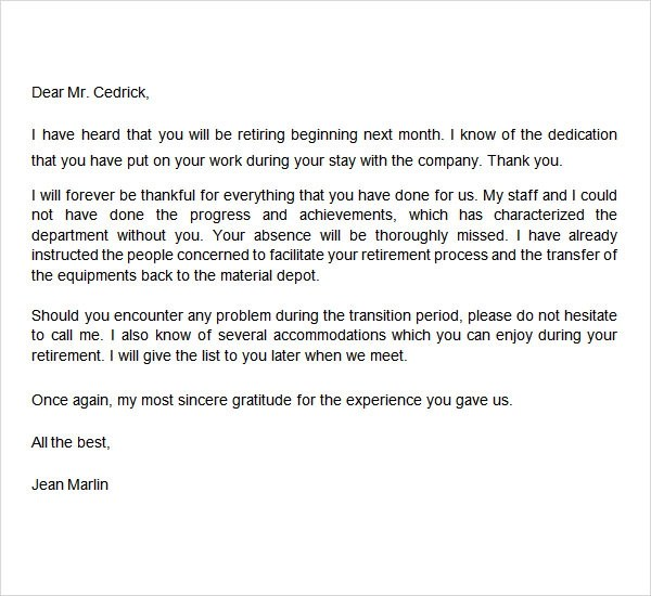 retirement letters to boss | Docoments Ojazlink