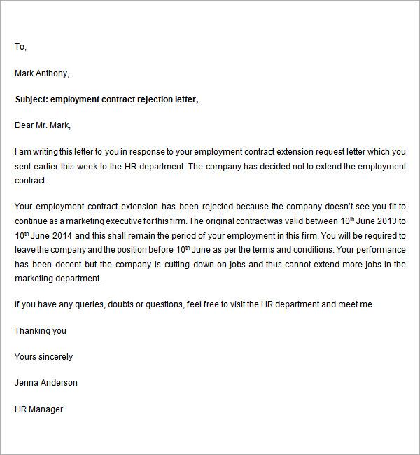Sample Regret Letter For Employment - rejection letter ...