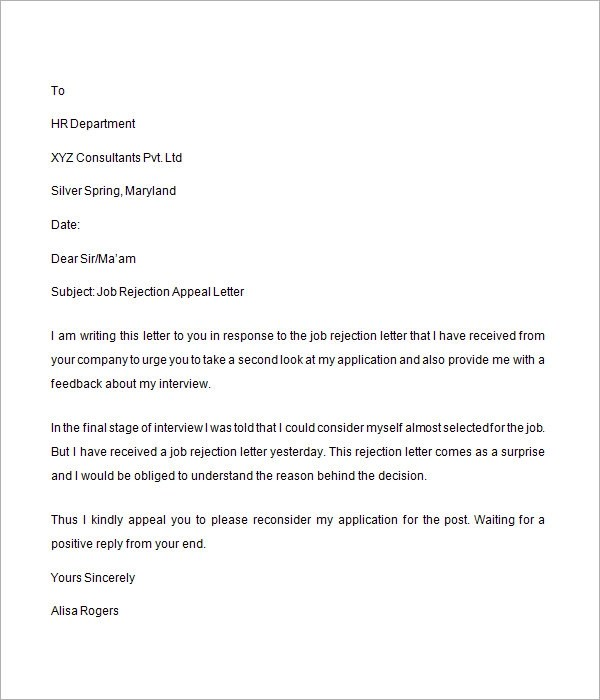 7 Sample Job Rejection Letters to Download | Sample Templates