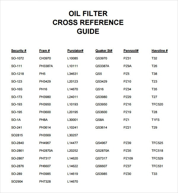 6 Sample Oil Filter Cross Reference Chart Templates